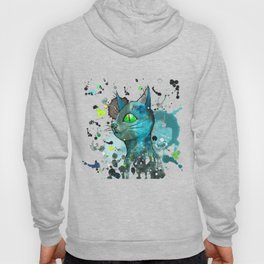 Wild blue grunge cat Hoody
