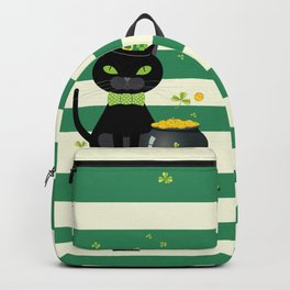 Black cat in bow tie and hat with green shamrock Backpack