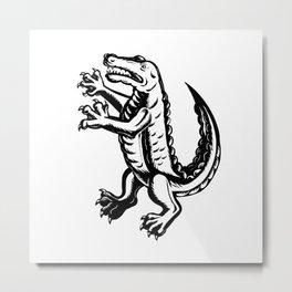 Alligator Standing Scraperboard Metal Print