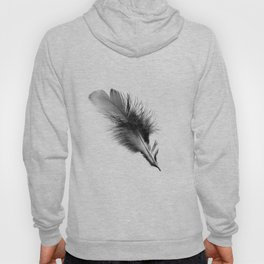 Delicate monochrome graphic feather Hoody