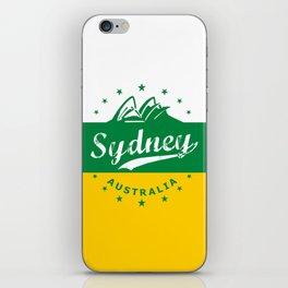 Sydney City, Australia, green yellow, poster iPhone Skin