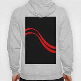 Red waves on black background - vector Hoody