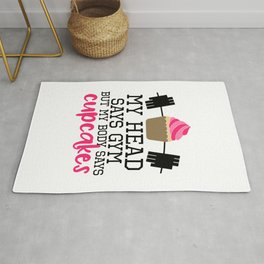 Head Says Cupcakes Funny Gym Quote Rug