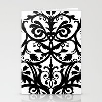 wall clock Stationery Cards featuring Folk Art wall clock by Laura Barrett