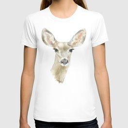 Doe Deer Watercolor Painting Fine Art T-shirt