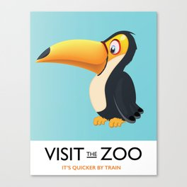 visit the zoo toucan cartoon Canvas Print