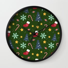 It's Christmas Time Colourful Pattern III Wall Clock