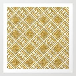 Gold Glitter Greek Pattern Art Print