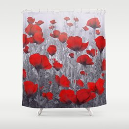 Poppies in red and grey Shower Curtain