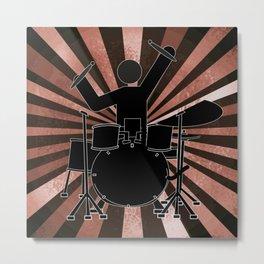 Drummer Stick Figure Metal Print
