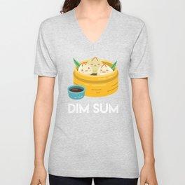 DIM SUM Funny Dumplings Asian Food Fan Gift print Unisex V-Neck