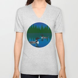 Loons in a Woodland Lake Unisex V-Neck