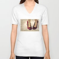 heels V-neck T-shirts featuring Purple Suede Snakeskin Heels by Tangerine-Tane