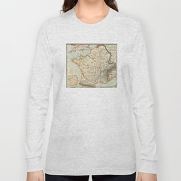 Vintage Map of France (1887) Long Sleeve T-shirt