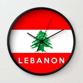 Lebanon country flag name text Wall Clock