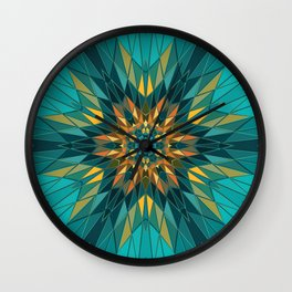 blue green and yellow star Wall Clock