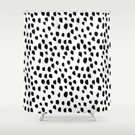 Hand drawn drops and dots on white - Mix & Match with Simplicty of life Shower Curtain