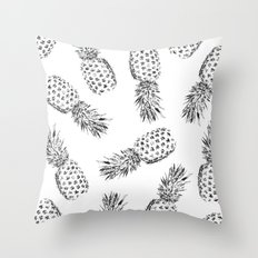 Pineapples Black and White Throw Pillow