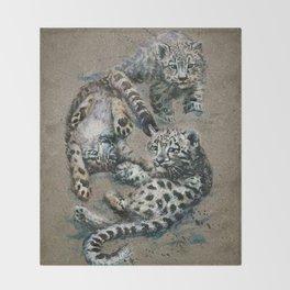 Snow leopard 2 background Throw Blanket