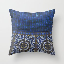 Blue Tile Throw Pillow