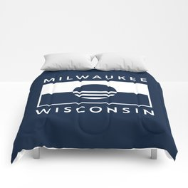 Milwaukee Wisconsin - Navy - People's Flag of Milwaukee Comforters