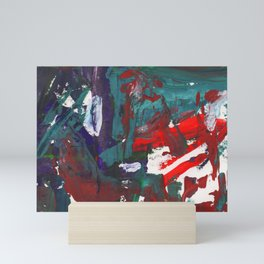 Bright multi-colored painting, contemporary art. Gouache acrylic paint, abstract texture hand drawn Mini Art Print
