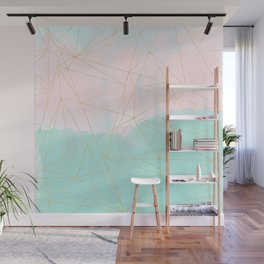Watercolor abstract and golden triangles design Wall Mural
