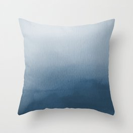 White & Blue Abstract Watercolor Blend Pairs To 2020 Color of the Year Chinese Porcelain PPG1160-6 Throw Pillow
