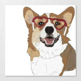 Happy Valentine's Day Corgi Canvas Print