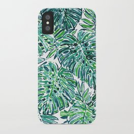JUNGLE VIBES Green Tropical Monstera Leaves iPhone Case
