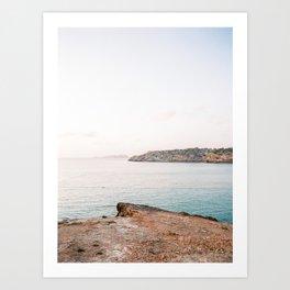 "Travel photography ""Cala Tarida Sunset""   Modern wall art Ibiza Spain pastel tones coast sunset Art Print"