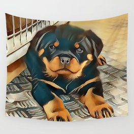 Rottweiler Pup Wall Tapestry