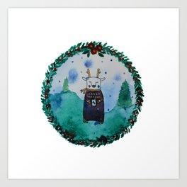 Chill Christmas deer Art Print