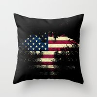 american flag Throw Pillows featuring AMERICAN FLAG by Oksana Smith