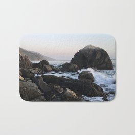 Crashing Waves at Dusk on a Big Sur Beach Bath Mat