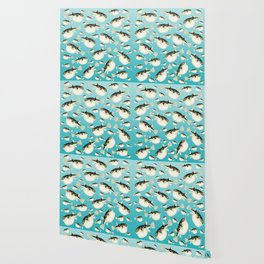 Puffer Fish watercolor Pattern Teal Wallpaper