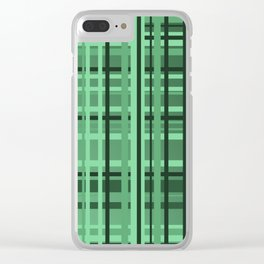 checkered Design green Clear iPhone Case