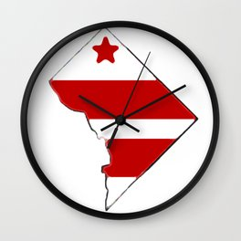 Washington DC District of Columbia Map with Flag Wall Clock
