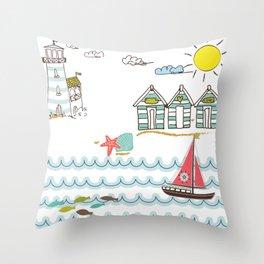 Summer Holiday Throw Pillow
