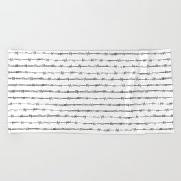 barbed wire stripe - white Beach Towel