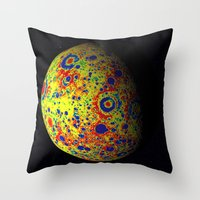 planet of the apes Throw Pillows featuring Colorful Moon by 2sweet4words Designs