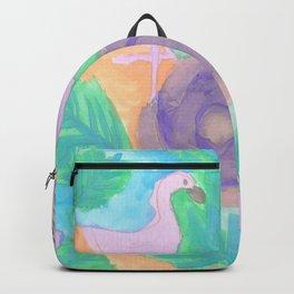 Tropical Flamingo Pastel Print Backpack