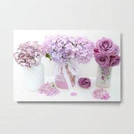 Lavender Purple Hydrangeas Floral  Metal Print