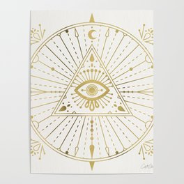 All-Seeing Eye Mandala – Gold Palette Poster