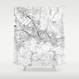 Florence White Map Shower Curtain