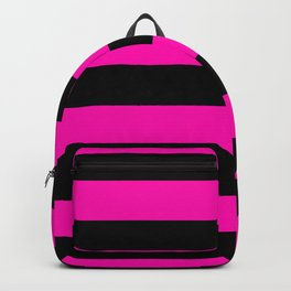 Bright Hot Neon Pink and Black Cabana Tent Stripes Backpack