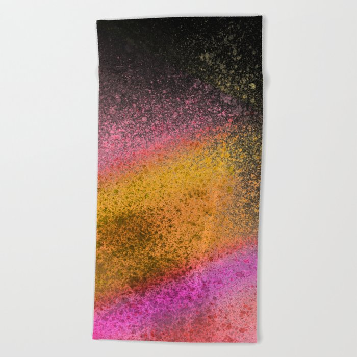 Sunset And Black Paint Splatter Beach Towel By Ovko Society6