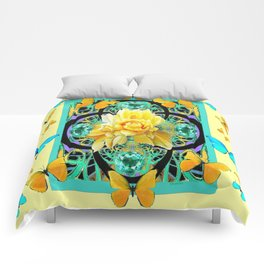 Yellow & Turquoise Butterflies & Rose Pattern Comforters