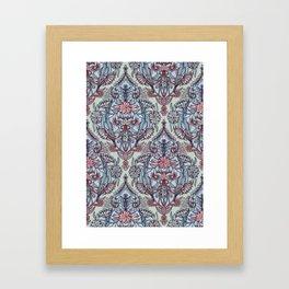 Botanical Moroccan Doodle Pattern in Navy Blue, Red & Grey Framed Art Print