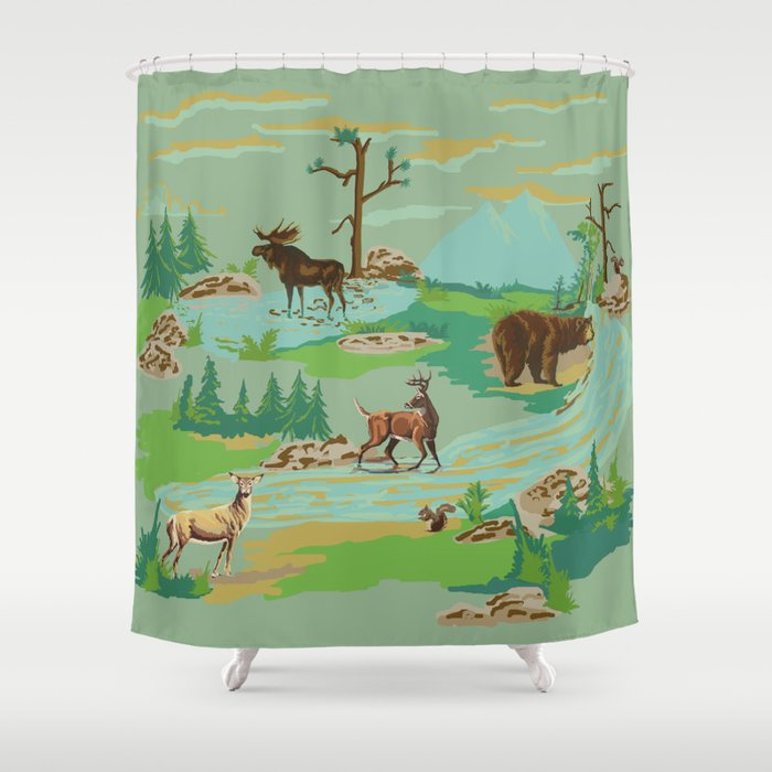 Paint By Number Woodland Animals Shower Curtain By Hollyce